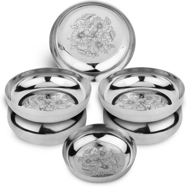 LIMETRO STEEL Stainless Steel Pack of 6 Heavy Gauge Steel Laser Halva Plates / Breakfast Plates / Serving Plates (Diameter : 13 cm , 6 Pieces) Quarter Plate