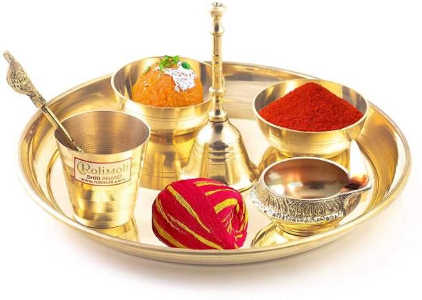 Rolimoli Brass Karwa chauth Thali Set Set of 9 Pure Pital Karwa chauth Thali (6Inch Thali Set Free 50 Gram Sindur/Kumkum & 1 Moli Roll) 9pcs set Brass