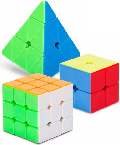 HASTiKA Speed Cube Combo Set of 2X2 3x3 and Pyraminx Pyramid Triangle High Speed Stickerless Cube Puzzle
