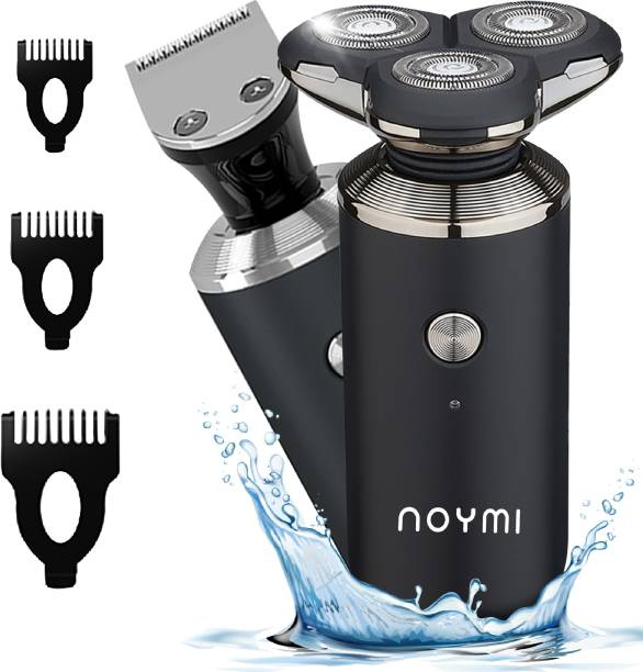 NOYMI 3D Rechargeable 100% Waterproof IPX7 Electric Shaver Wet & Dry Rotary Shavers for Men Electric Shaving Razors Trimmer, BLACK  Shaver For Men