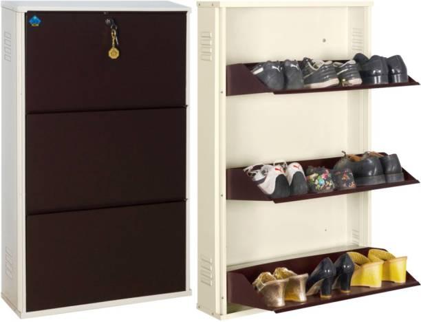 Delite Kom 24 Inches wide Three Door Powder Coated Wall Mounted Metallic Ivory Coffee Metal, Metal, Metal Shoe Rack