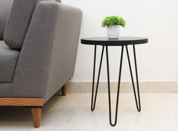 Flipkart Perfect Homes Studio Elegant Hairpin Legs Powdered Coated Engineered Wood Side Table/End Table for Living Room in Black Color Metal Side Table