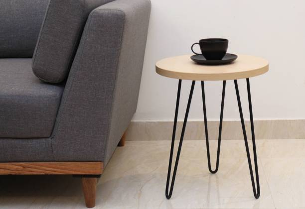 Flipkart Perfect Homes Studio Elegant Hairpin Legs Powdered Coated Engineered Wood Side Table/End Table for Living Room in Brown Color Metal Side Table