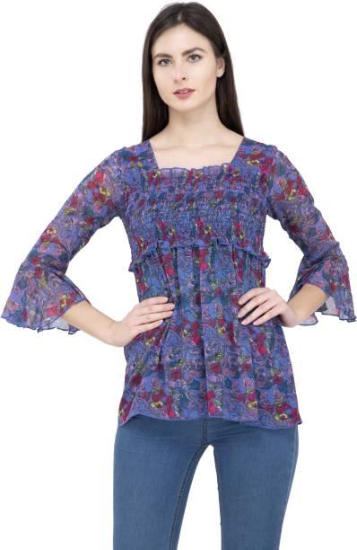 POPWINGS Casual Bell Sleeve Printed Women Blue Top