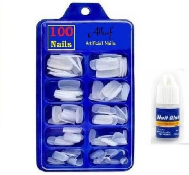 Alkaf Artificial Gold Finger Empress Tips Fake Nails With Glue Bottle White