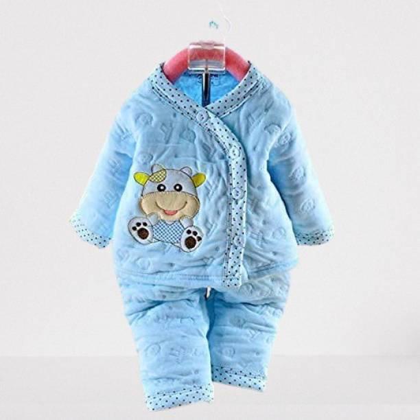Honey Boo Presents New Born Baby Cotton Cartoon Print 2 Piece Suit Keep Baby Warm Cotton Baby Boys Girls Unisex Baby Fleece/Falalen or Flannel Suit Infant Clothes (Blue 0-3 Months)