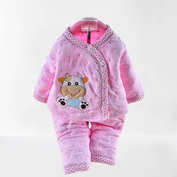 Honey Boo Presents New Born Baby Cotton Cartoon Print 2 Piece Suit Keep Baby Warm Cotton Baby Boys Girls Unisex Baby Fleece/Falalen or Flannel Suit Infant Clothes (Pink 0-3 Months)