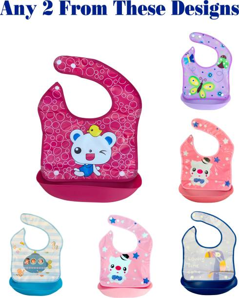 Miss & Chief Waterproof Washable Plastic Printed Baby Bib Apron/ Double layered PVC for Fast Drying with tich button & tray/ Cute Print in Attractive Colors (Pack Of 2)