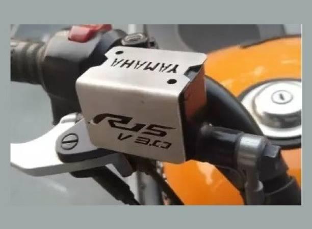 Bullkartzone Motorcycle Bike Stainless steel V3 Front Disc Brake Fluid Reservoir Cap Cover Guard Protector(Silver) Handlebar Hand Guard
