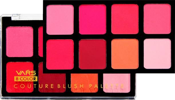 VARS LONDON face makeup blusher palette | matte blusher | shimmer blusher | 8 color matte and shimmer combo blusher palette | pack of 1