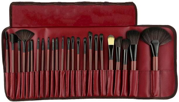 BELLA HARARO Soft Essential Cosmetics 24 Pieces Professional Wooden Makeup Brushes Set with Roll On Pouch