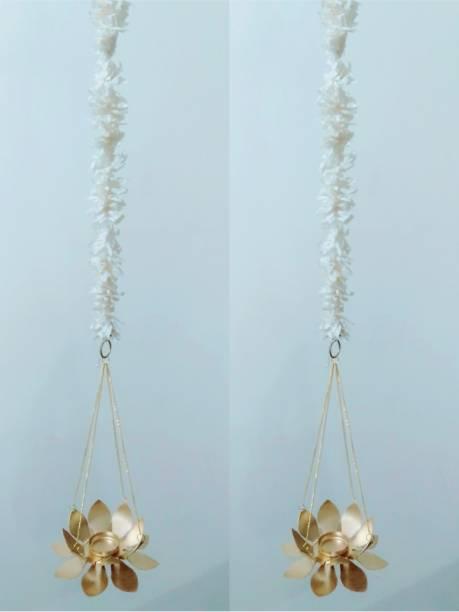 Siddhivinayak Lotus Hanging Tea Light Holder With attached Marigold line (2.5 feet) (Set of 2) for Diwali Gift Iron Tealight Holder Set