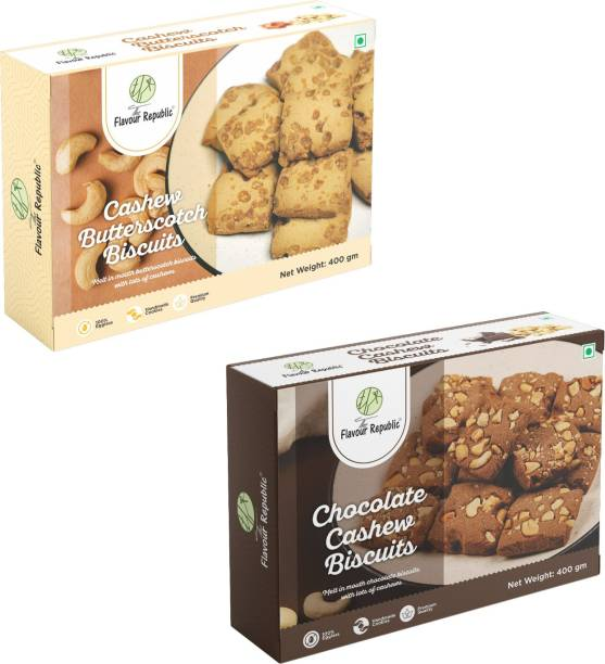 The Flavour Republic Premium Quality Cahsew Butterscotch Biscuits & Chocolate Cashew Biscuits - Combo Pack Cookies