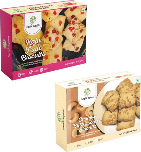 The Flavour Republic Premium Quality Kaju Fruit Biscuits & Cahsew Butterscotch Biscuits - Combo Cookies