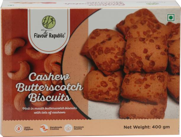 The Flavour Republic Cashew Butterscotch Biscuits Pure Vegetarian Premium Quality Biscuits_Pack of 2 Cookies