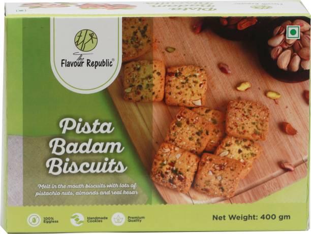 The Flavour Republic Pista Badam Biscuits Pure Vegetarian Premium Quality Biscuits_Pack of 1 Cookies
