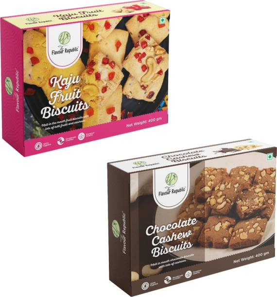 The Flavour Republic Premium Quality Kaju Fruit Biscuits & Chocolate Cahsew Biscuits - Combo Cookies