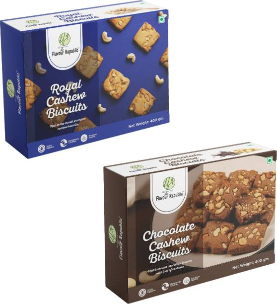 The Flavour Republic Premium Quality Royal Cashew Biscuits & Chocolate Cashew Biscuits - Combo Cookies