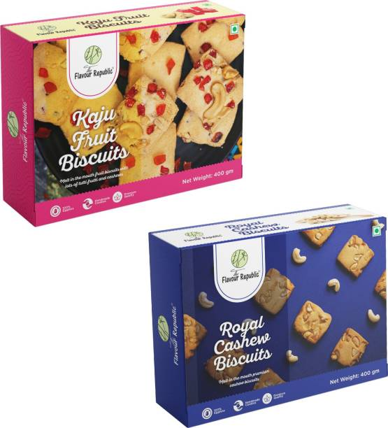 The Flavour Republic Premium Quality Kaju Fruit Biscuits & Royal Cashew Biscuits - Combo Cookies