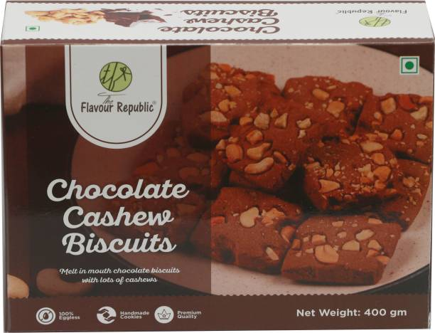 The Flavour Republic Chocolate Cashew Biscuits Pure Vegetarian Premium Quality Biscuits_Pack of 2 Cookies