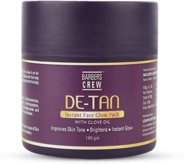 Barbers Crew DeTan Face Pack, Skin Brightening Face Mask For Glowing Skin,Tan Removal, Oil Control, Acne & Fairness, Pigmentation & Brightening, For Women & Men - 100gm
