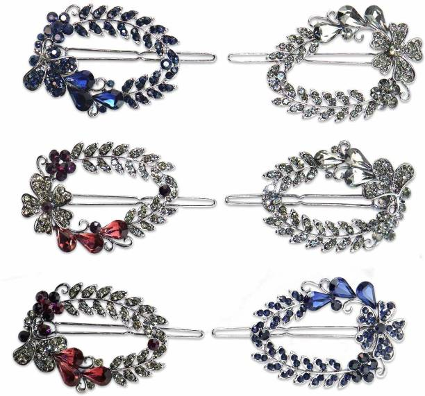 krelin Crystal Stone Hair Back Clip Pin for Women/Girls Hair Jewelry Bridal Hair Pin Juda Pins (Pack of 6) Hair Clip (Multicolor) Hair Pin