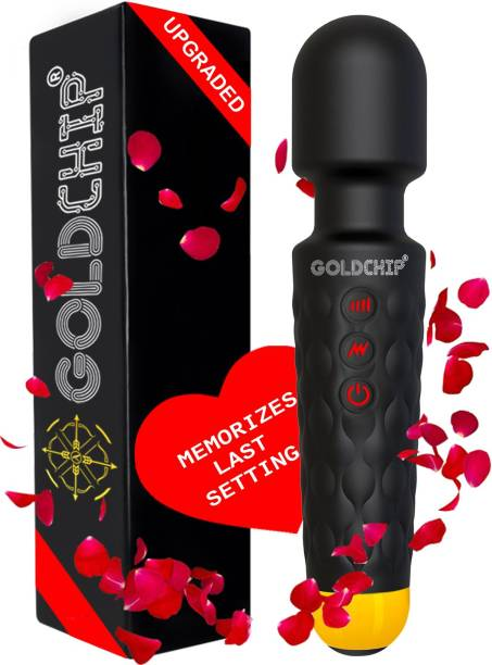 GoldChip (INDIA) Personal Body Wand Massager (Vibrator) For Woman & Men | MEMORIZES LAST USED SETTINGS | 28 Vibration Modes | Waterproof | 1 YEAR WARRANTY | MADE IN INDIA |- Magic Massager