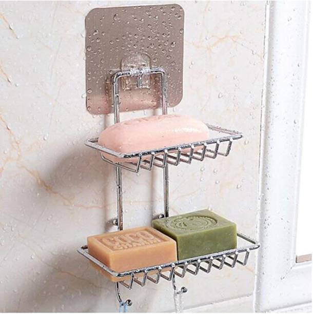 QBK Soap Wall Mounted Double Layer soap Dish Holder With Hanging Hooks Stainless Steel Wall Hanging Soap Storage Rack for Kitchen Bathroom-With Self Adhesive Magic Sticker