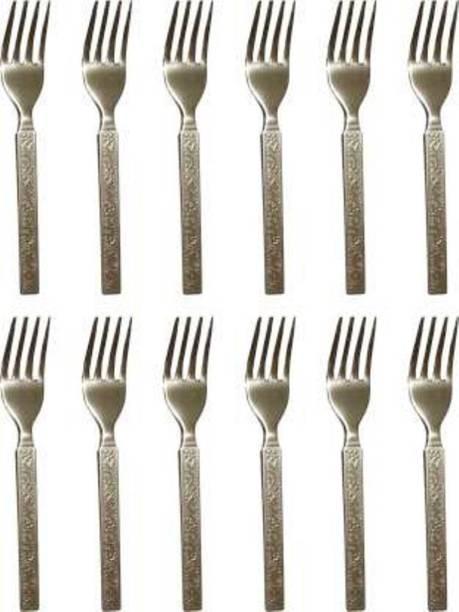 MedNet Steel Table fork, Steel Dessert Fork, Salad Fork, Dinner Fork, Serving Fork, Fruit Fork Set (Pack of 6) /Stainless Steel Fork Set of 12 Pcs Stainless Steel Dinner Fork Set (Pack of 12) Stainless Steel Dinner Fork Set