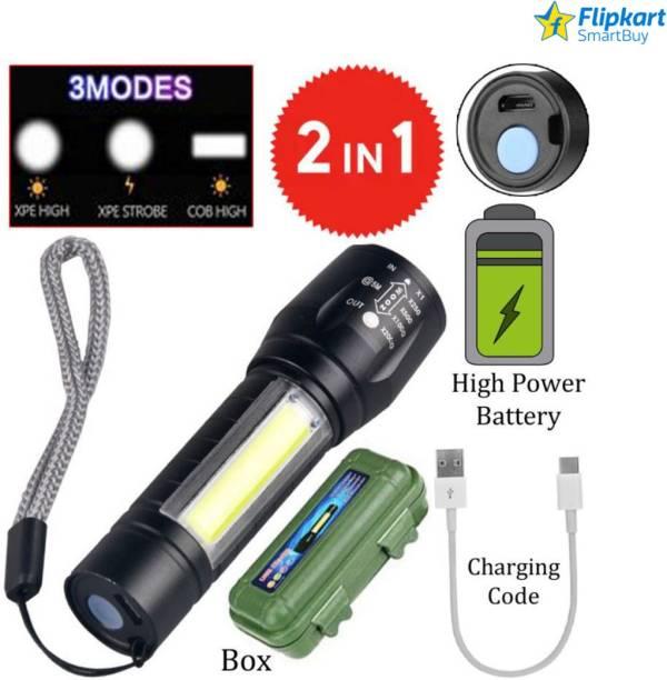 Flipkart SmartBuy Zoomable Waterproof Torchlight LED 2in1 3 Mode Waterproof Rechargeable LED Zoomable Metal 7w Torch