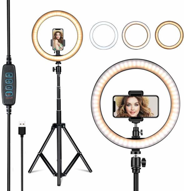 airtech 10 Inches Big LED Selfie Ring Light for Smartphone to Capture Your Photo and Video at Tiktok, Musically and Other App with long 7 feet extendable Stand Ring Flash Ring Flash