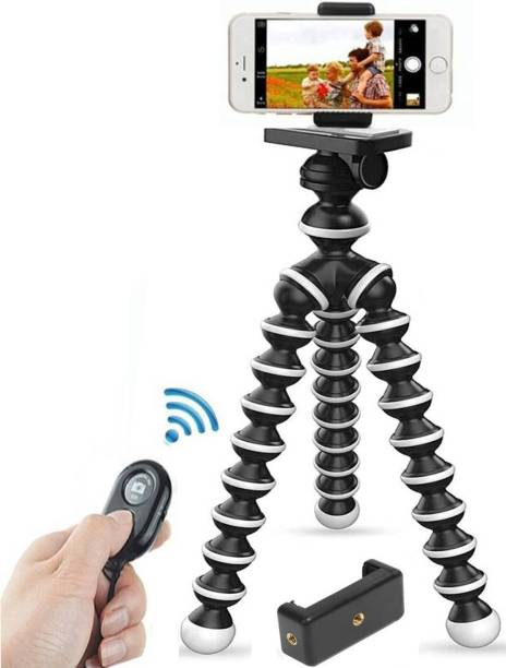 Sulfur Gorilla Tripod/Mini Tripod [10 inch+ 3 inch clip] fully flexible rotatable mobile stand/holder with Remote & clip holder for all Mobile Phone DSLR & Action Cameras/projector Tripod, Tripod Kit, Tripod Bracket