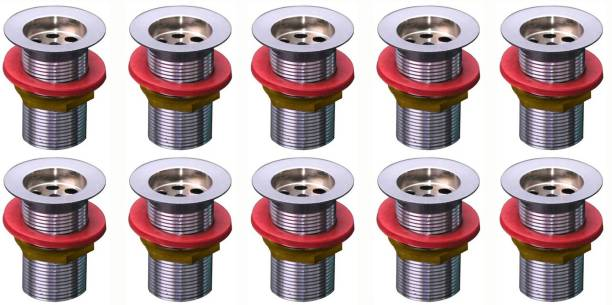 Spazio Premium Quality Stainless Steel 32 mm Full Thread Waste Coupling for Wash Basin Bathtub Sink Waste Coupling Pack of 10 Alcove Bathtub