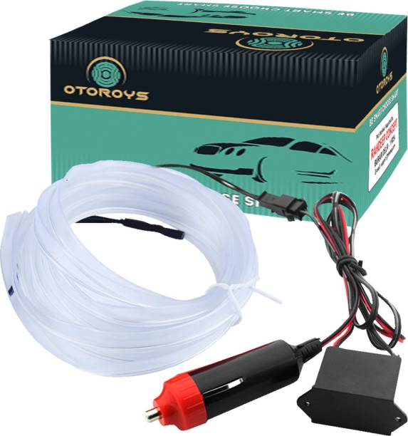 Otoroys EL Wire Car Interior Light Ambient Neon Light for Cars With Controler (Ice Blue, 5 Meter) Car Fancy Lights