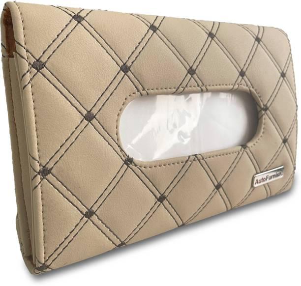 AutoFurnish 7D Car Sun Visor Tissue Holder Box with Free Tissues - Beige Coffee Vehicle Tissue Dispenser