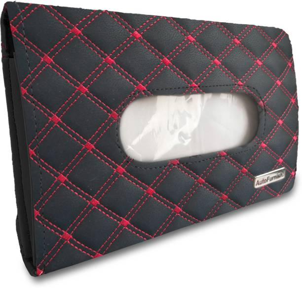 AutoFurnish 7D Car Sun Visor Tissue Holder Box with Free Tissues - Black Red Vehicle Tissue Dispenser