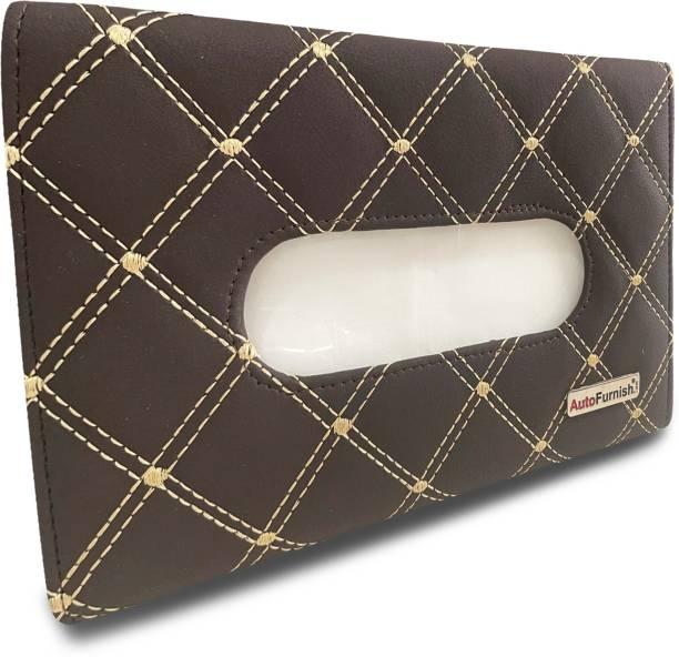 AutoFurnish 7D Car Sun Visor Tissue Holder Box with Free Tissues - Coffee Beige Vehicle Tissue Dispenser