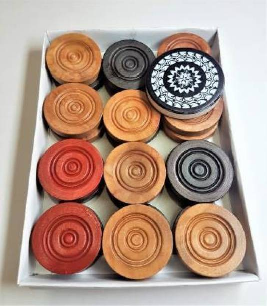 Kizlo Wooden carrom coins set (Pack of 24) with striker and powder Carrom Pawns