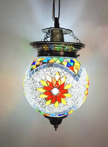 DEEPANSH RAJ Handcrafted Mosaic Decorated Glass Hanging Light/ceiling Lights With Fixtures for Living Rooms Hall and Home Decoration and Also Use for Balcony Dining Table Bedrooms Kitchen Office and Restaurant (Pack of 1) Chandelier Ceiling Lamp/Lights Chandelier Ceiling Lamp