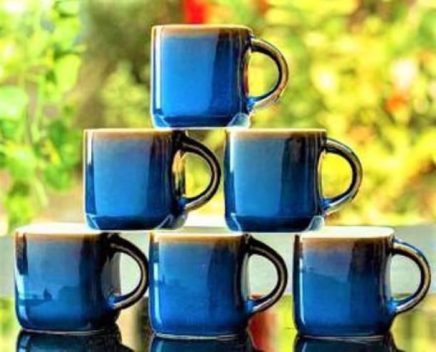Zaar Pack of 6 Bone China, Ceramic Blue Treading Premium Cups