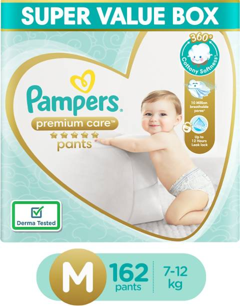 Pampers Premium Pants Super Value Box Pack Cotton like soft Diapers with Wetness Indicator - M