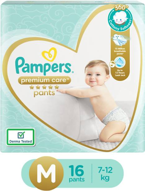 Pampers Premium Pants Cotton like soft Diapers with Wetness Indicator Premium Care - M