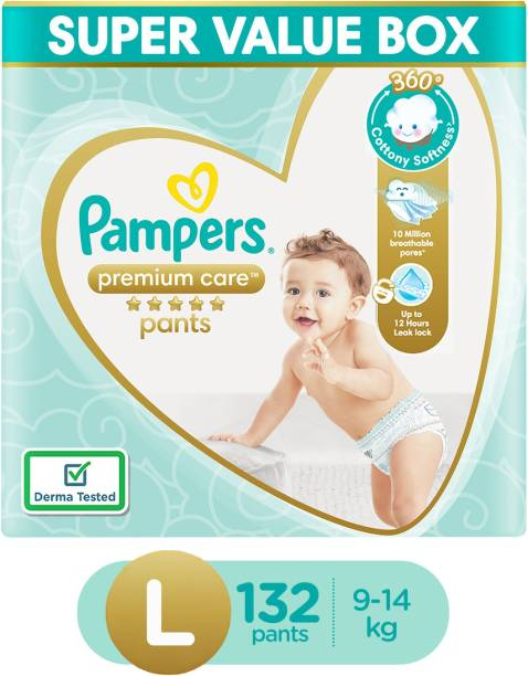 Pampers Premium Pants Super Value Box Pack Cotton like soft Diapers with Wetness Indicator - L
