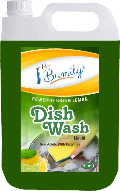 Bumily Dishwash Liquid Gel with Green Lemon power which kills 99% bacteria | germs | oil & washes off viruses Kitchen Utensil Cleaner dish washing Gel Green Lemon fragrance 5Ltr Dish Cleaning Gel (Green lemon, 5 L) Dishwash Bar
