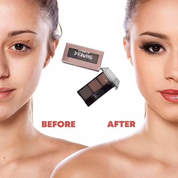 MIKARA Long Lasting Makeup Palette Waterproof 3 Colors Cosmetic Eyebrow Enhancer Brightening With Eyebrow Powder 14 g