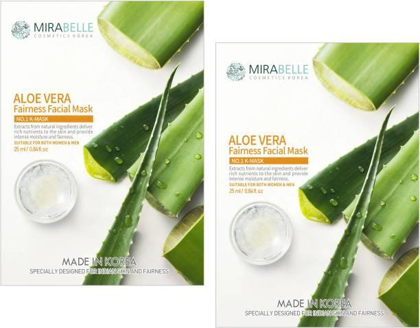 Mirabelle Aloe Vera Fairness Facial Sheet Mask (25ml Each pack of 2)