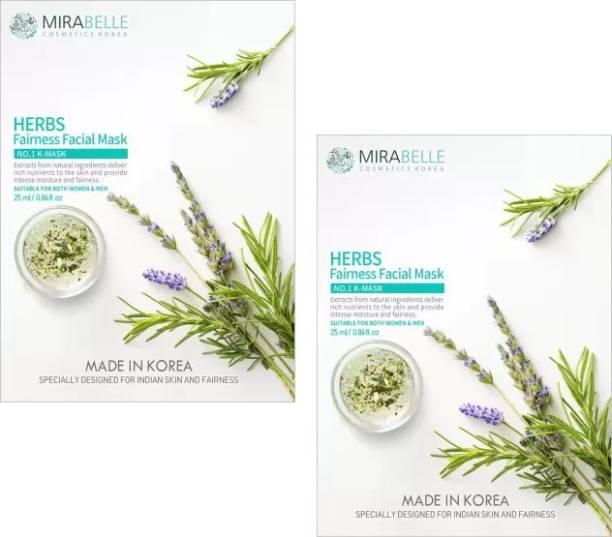 Mirabelle Herbs Fairness Facial Sheet Mask (25ML Each pack of 2)