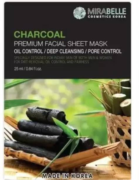 Mirabelle Charcoal Premium Facial Sheet Mask (25ml Each pack of 1)