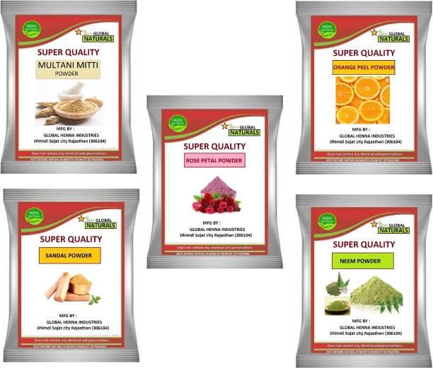 GLOBAL NATURAL'S Multani Mitti powder , Neem powder , orange peel powder , rose petal powder, chandan powder 100gm each