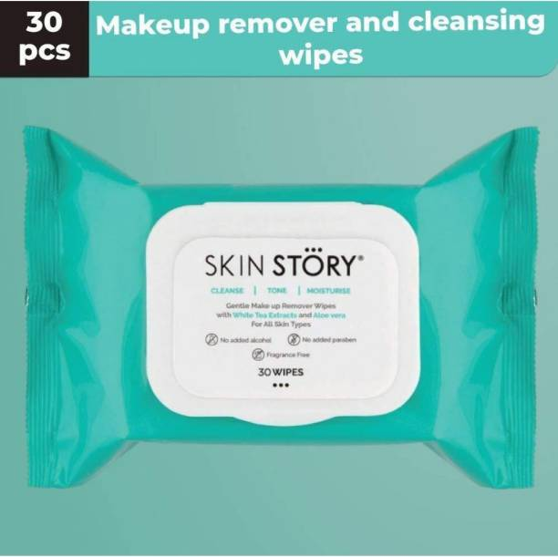 SKIN STORY Make up Removal and Cleansing wipes enriched with Aloe Vera, Rose water and White tea extracts to give you a clean toned moisturised skin Makeup Remover